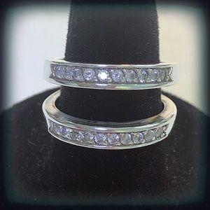 925 Sterling Silver Diamonique Ring Guard 6.5
